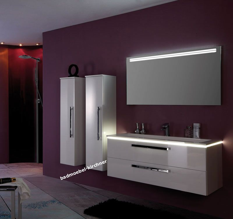 starline 01 led spiegel waschtisch 120 cm wei hgl badm bel kirchner. Black Bedroom Furniture Sets. Home Design Ideas