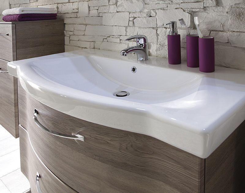 solitaire 6005 keramik waschtisch 97 cm eiche badm bel. Black Bedroom Furniture Sets. Home Design Ideas